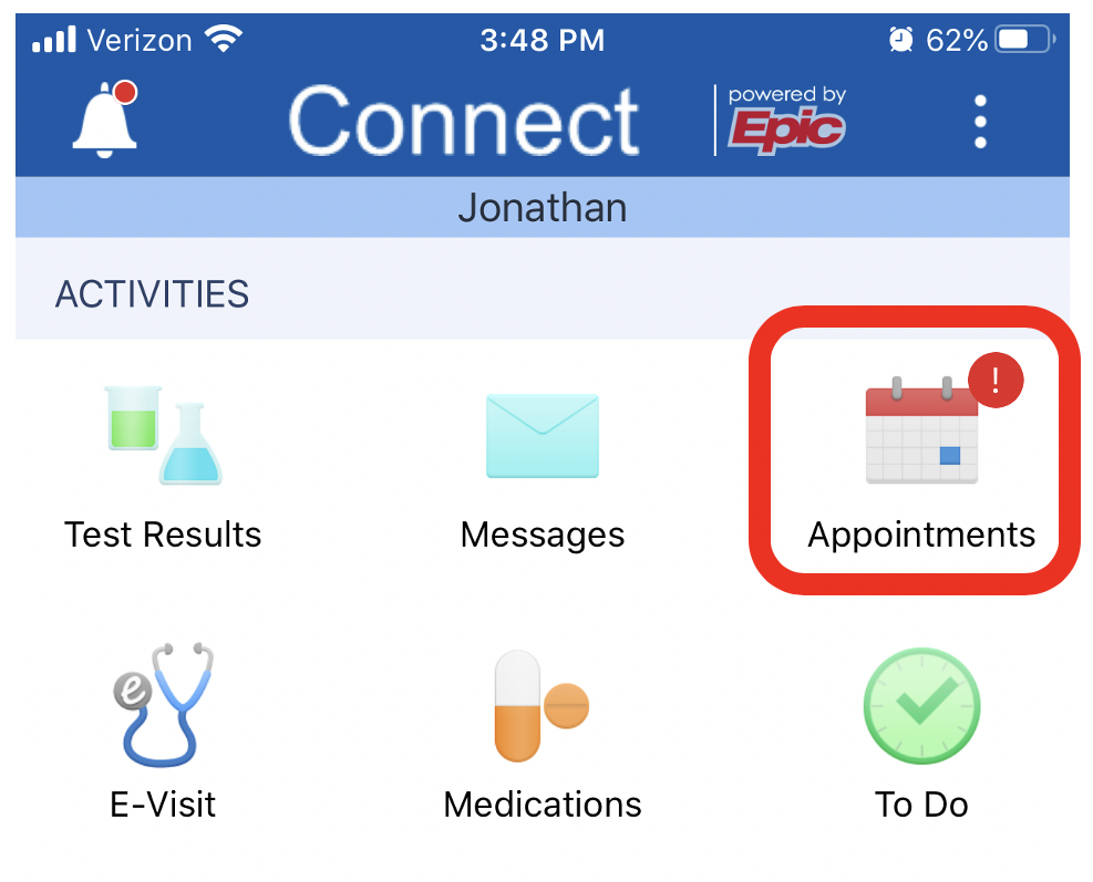 the appointment icon highlighted in the mychart app
